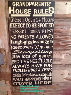 Grandparents House Rules Sign 12 x 24 Wood by DropALineDesigns