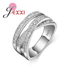 Jexxi 2017ブランドファッション925スターリングシルバージュエリー立方ジルコンクリスタル婚約結婚指輪女性のためanilloビジュー