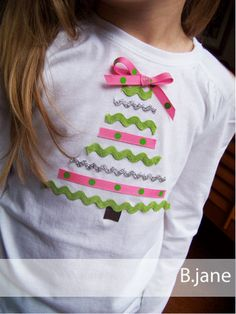 DONE- No Sew Ribbon Tree Tee - so simple and so cute!  Made this last Christmas for Abbie, used red & green ribbon. I used FrayCheck on the ribbon ends-  to keep it from unraveling in the wash.  I sewed a star button on top of the tree instead of a bow.