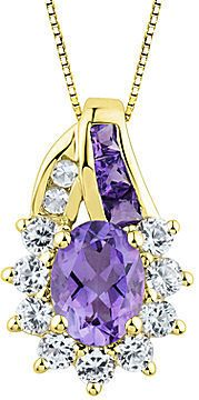 FINE JEWELRY Genuine Amethyst and Lab-Created White Sapphire Pendant Necklace
