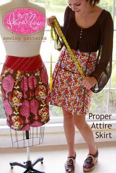Proper Attire Skirt  1 1/2 yards fabric and lining; for contrast yoke, 1/2 yard additional.  For piping, additional 1/4 yard.