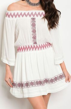 Off the Shoulder Smocked Stretch Knit Embroidered Print Fashion Dress | Sz 2 4 6 #Fashion #ShiftDress #ALineDress #OfftheShoulderDress #CasualDress