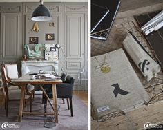 In an office, a table made of sawhorses and an old antique shelf, a suspension workshop mottled Antique Shelves, Panel Moulding, Loft, Rouen, French Beauty, Industrial Farmhouse, Old Antiques, Natural Linen, Decoration