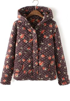 Brown Floral Long Sleeve Cotton Blend Padded Coat