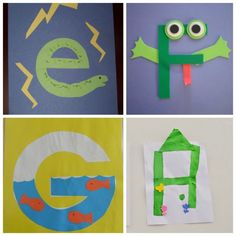 These letter of the week crafts give young kids a fun way to learn what sounds to associate with what letter. All the letters in one place! Child Development Activities, Preschool Learning Activities, Alphabet Activities, Teaching Abcs, Preschool Schedule, Montessori Math, Preschool Science, Preschool Lessons, Toddler Activities