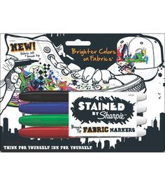 Stained By Sharpie Fabric Markers 4/Pkg-