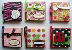 A bunch of images of postit note holders with pens.