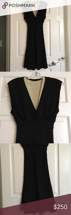 Gorgeous Authentic Chloe Dress! 100% silk black dress from Chloe with plunging V neck. Top is lined in nude. Side zip. Stunning! Worn once!                                                                   France size 36 which is a small or 4 US Chloe Dresses Midi