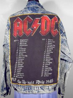 """BAREFOOT VINTAGE ORIGINAL AC DC 1985 """"FLY ON THE WALL"""" TOUR JACKET LEVIS L USA  $95.00 SOLD"""
