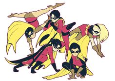 Robins. Dick Grayson, Jason Todd, Tim Drake, Stephanie Brown, and Damian Wayne.