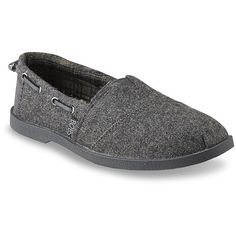 Skechers Women's Bobs Chill Luxe Grey Slip-On Shoe - Clothing, Shoes &... ($15) ❤ liked on Polyvore featuring shoes, flats, skechers shoes, flat slip on shoes, flat shoes, gray flats and grey flats