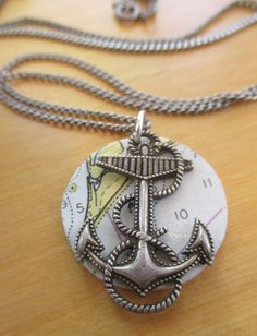 Great Vintage Nautical Chart Jewelry Anchors by HoundhealerStudio, $16.00