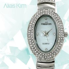 Alias Kim Full Crystal Silver Stainless Steel Strap Womens Quartz Lady Watch #AliasKim #Fashion