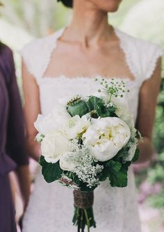 {Dress and bouquet.}