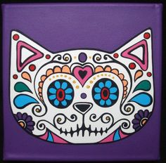 It will be an unique applique. Sugar Scull, Sugar Skull Cat, Mexican Skulls, Mexican Folk Art, Mexican Paintings, Day Of The Dead Art, Clay Pot Crafts, Halloween Cat, Gift Store