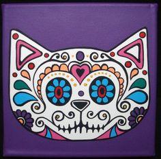 Calaveras mexicanas pintadas a mano en Acrilico sobre  Bastidores de tela de 20 x 20 CMbr / Se pueden hacer con otros colores de fondo, no dudes en preguntar.