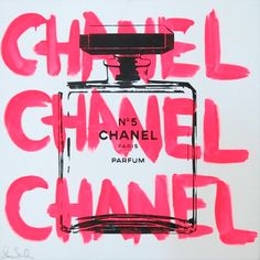 Chanel, Chanel, Chanel Handpulled Silkscreen On Canvas - by Shane Bowden This has a street art feel with a classic twist, I like the letter with the pop of color while the actual subject is purely black outlines Bedroom Wall Collage, Photo Wall Collage, Picture Wall, Collage Art, Collages, Tableau Pop Art, Tout Rose, Pink Photo, Fashion Wall Art