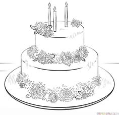 How to draw a Birthday Cake step by step. Drawing tutorials for kids and beginners.