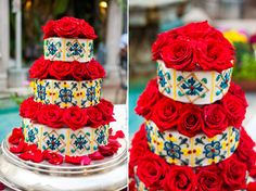 Wish I had seen this before I got married. This is the first cake I've seen that I like more than the one we had.... Spanish Inspired Wedding cake. Colorful spanish tiles, red roses.