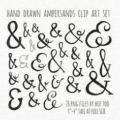 ampersand clip art, doodle ampersand clipart, hand lettering typography black ink and symbol, hand drawn ampersands instant download png 080