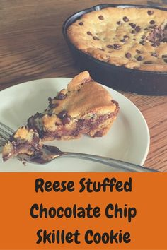 Deep Dish,Reese StuffedChocolate ChipSkillet | Merry About Town Desserts For A Crowd, Best Dessert Recipes, Sweet Desserts, Cupcake Recipes, Easy Desserts, Baking Recipes, Cookie Recipes, Cupcake Cakes, Cookie Desserts