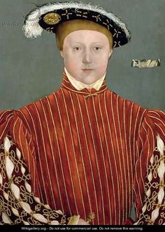 Edward VI, the last Tudor King. Son of Henry VIII and Jane Seymour and younger half brother of Queen Elizabeth I. Audrey's comment: looks like if he survived to manhood he would be just like his Dad!
