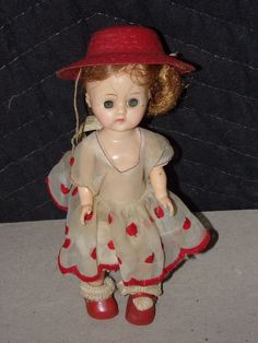 VINTAGE Antique Doll Possible Shirley Temple Pok a Dot Dress Red Hat - WORN #Unbranded