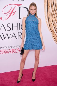 Pin for Later: The Fashion Crowd Goes All Out For the CFDA Awards Red Carpet Martha Hunt Wearing Diane von Fürstenberg.