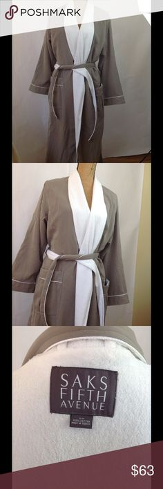 New luxurious robe from Saks Fifth Avenue st. S/M $145 retail price robe by  Saks Fifth Avenue st. Size S/M. Brand new never been worn . The dual layer luxurious robe in sand stone color. Cotton. Don't miss it. Intimates & Sleepwear Robes