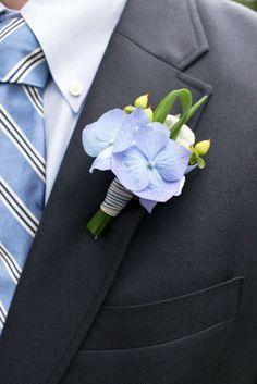 Boutonniere: Silk blue hydrangea blossoms, fresh green hypbericum berries, fresh lily grass wrapped in ribbon. Boutonnieres, Hydrangea Boutonniere, Corsage And Boutonniere, Prom Flowers, Blue Wedding Flowers, Flower Bouquet Wedding, Red Wedding, Wedding Ideas, Nantucket Wedding