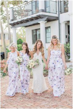 Show Me Your MuMu Bridesmaids Dresses at Black Dolphin Inn Purple Floral Bridesmaid Dresses, Patterned Bridesmaid Dresses, Bridesmaid Flowers, Wedding Bridesmaid Dresses, Wedding Attire, Flower Girl Dresses, Purple Wedding, Dream Wedding, Wedding Stuff