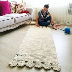 413 likes 12 comments Crochet With Trapillo Hand Woven pinned 4 inspiration id do This Pin was discovered by Lup Crochet Doily Rug, Crochet Carpet, Knit Crochet, Crochet Patterns, Diy Carpet, Rugs On Carpet, Rope Rug, Crochet Home Decor, Handmade Rugs