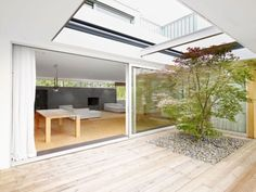 House S, a bungalow in Wiesbaden, Germany built by interior architect Wilfried Hilger for himself and his family, recently underwent an extension Courtyard Design, Roof Design, Exterior Design, House Design, Garden Design, Contemporary Outdoor Fireplaces, Japanese Bath House, Design Cour, Casa Patio