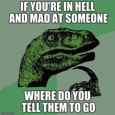 Philosoraptor | IF YOU'RE IN HELL AND MAD AT SOMEONE WHERE DO YOU TELL THEM TO GO | image tagged in memes,philosoraptor | made w/ Imgflip meme maker