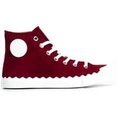Chloé 'Kyle' hi-top sneakers (750 BAM) ❤ liked on Polyvore featuring shoes, sneakers, red, sapatos, high top shoes, red shoes, red trainers, flat shoes and leather shoes