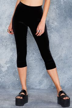Velvet Black Cropped Leggings - LIMITED ($70AUD) by BlackMilk Clothing