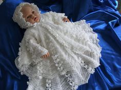 Baby Girls Crochet Christening Dress, Jacket and Bonnet to Fit 0-3 Month Baby or 20-22 inch Reborn Baby Doll, Ready to Ship. £38.00, via Etsy.