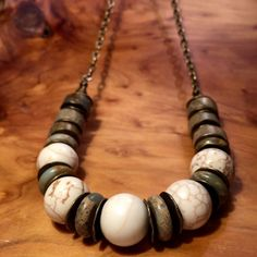 """Long Jasper bohemian necklace created with Aqua Terra Jasper and Ocean Jasper mixed with brass accents and brass chain. Known as the """"Supreme Nurturer,"""" Jasper is a stone of grounding and stability, providing comfort and security, strength and healing. Its presence balances the aura to a level of wholeness and peace, and acts as a reminder that one is not here on the physical plane simply for oneself, but to bring joy and substance to others. Necklace measures 31 in length. **Merchandise…"""