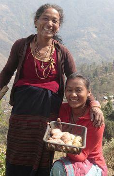 Juretthhum Village, Nuwakot District, NepalNani Maiya Lama, 45 years old, (left) and her daughter Sunita Lama, 20 years old, work in their potato garden on Sunday March 13, 2011
