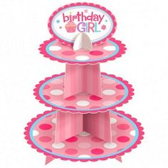 This Birthday girl cake stand is the perfect way to display your cupcakes and treats at parties and special events!