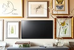 Easy Decorating Projects: How to Hang How to make a Flat-Screen TV almost disapper & have it blend in with the Gallery Art Wall you create around the TV.— Live.Love.Home