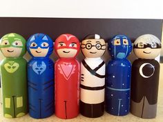6 pack of PJ Masks toy characters. Gecko, Owlette, Catboy, Romeo, Luna Girl & Night Ninja handpainted peg toys birthday by Pegatopia on Etsy https://www.etsy.com/listing/257767173/6-pack-of-pj-masks-toy-characters-gecko
