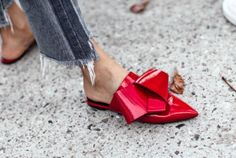 | NYC Street Style, fashion girls, street style trends, gucci dionysus, oversized trench coat, maximal style, gucci loafers, polka dots, red mules, red boots, bright coat