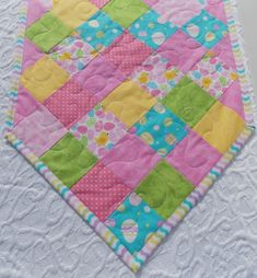 Easter Table Runner Quilt - Yellow Blue Pink Green @KeriQuilts