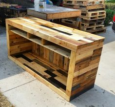 Pallet tv console 73 inches.