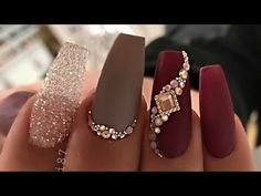 Discover recipes, home ideas, style inspiration and other ideas to try. Tan Nails, Bling Acrylic Nails, Love Nails, Glitter Nails, Pretty Nails, Matte Nails, Deluxe Nails, Burgundy Nails, Luxury Nails