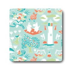 Moomin coasters range. Features elegant covered and layerd birch wood coaster with print on top and Moomin multi print on back. Excellent for everyday use. Size: 9 x 9 cm