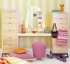 Use a worktable to connect two chests of drawers. Add a mirror to the wall space above the table. Now the space can work as a vanity and a desk. Desk Dresser Combo, Tall Dresser, Wall Spaces, Kid Spaces, Kids Decor, Diy Home Decor, Kids Dressers, Kids Study, Desk Areas