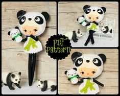 PDF. Panda bear girl with puppet. Plush Doll Pattern, Softie Pattern, Soft felt Toy Pattern.