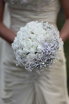 All White Brooch Bouquet for your Wedding Day! Silk White Roses, Crystals Classic and Elegant! by CocoChicBouquet on Etsy